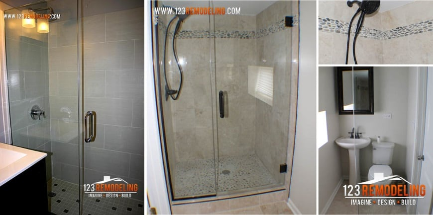 creative small bathroom ideas glass door shower
