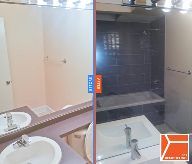 "123 Remodeling's project in ""West Loop"" condo, turned a 1/2 bath into full bath by installing a bathtub and shower."
