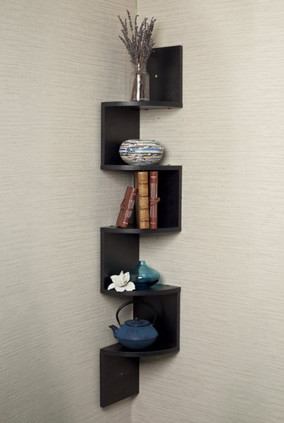 Designer corner shelving brings style and storage