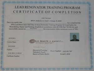 epa lead based certification remodeling