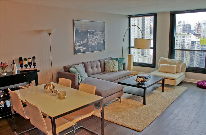 Condo Living Room Remodel - 1030 N. State St, Chicago, IL (Gold Coast)