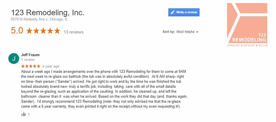123 Remodeling Google review for Old Town bathtub refinishing project in Chicago