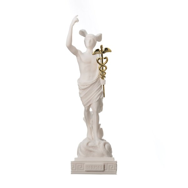 Hermes Mercury God Son Of Zeus Greek Roman Statue Alabaster Museum Copy Art 10.2″ 26cm