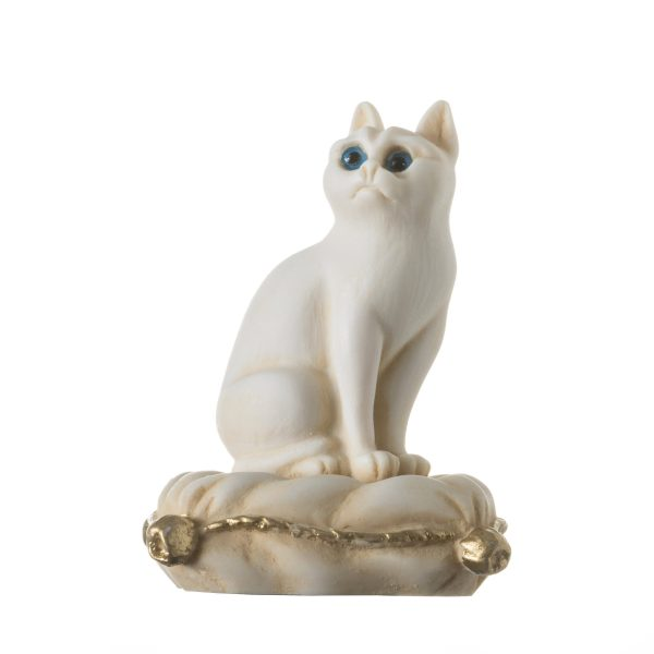 Cat Sitting on Pillow Alabaster Gold Tone sculpture Handmade 6.2""