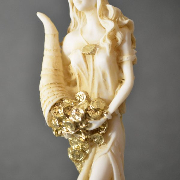 Goddess Of Wealth Tyche Lady Luck Fortuna Statue Alabaster Sculpture Golden 5″ S