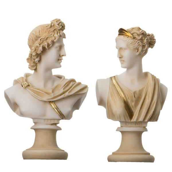Artemis Diana  and Apollo Bust Greek Statues Figurine Gods Gold Tone  5.9""