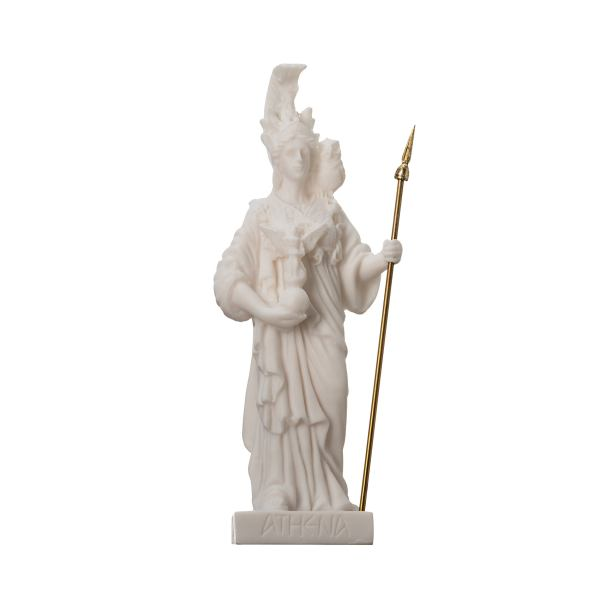Athena with Owl Goddess of wisdom and war Alabaster  Statue 6.29″