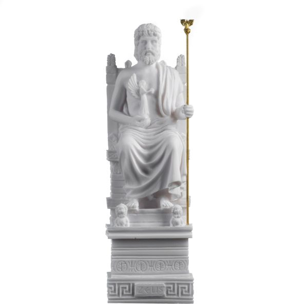 Zeus On Throne Jupiter God Greek Roman Statue Art Sculpture Figure Home 9.84″ 25cm