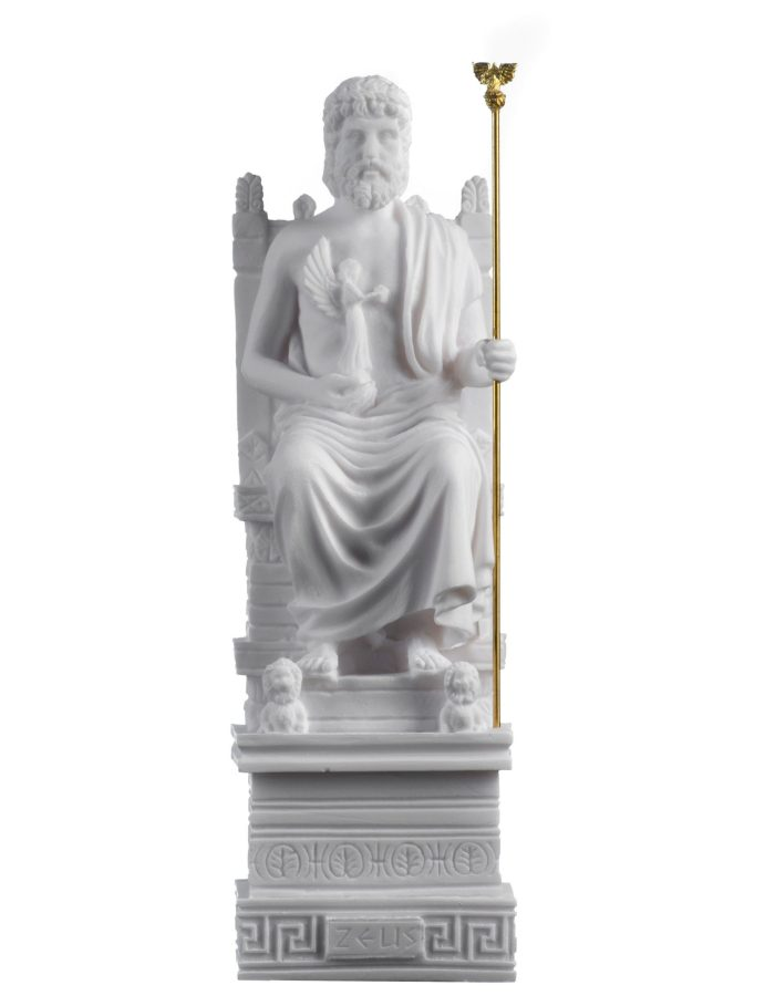 Zeus On Throne Jupiter God Greek Roman Statue Art Sculpture Figure Home 9.84″ 25cm