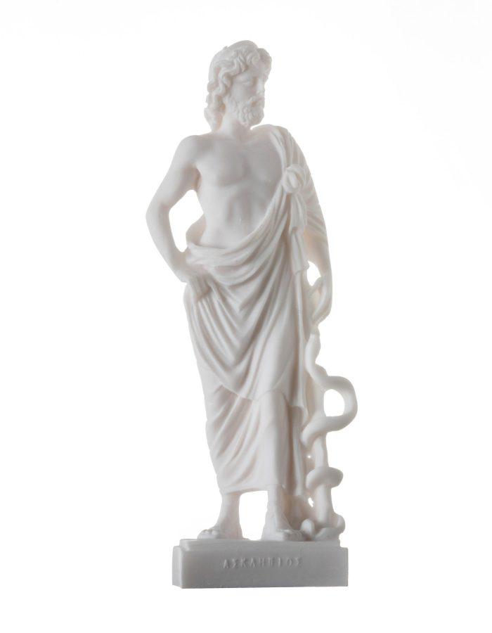 Asclepius Greek God of Medicine Alabaster Handmade Museum Copy Statue 9″ 23cm