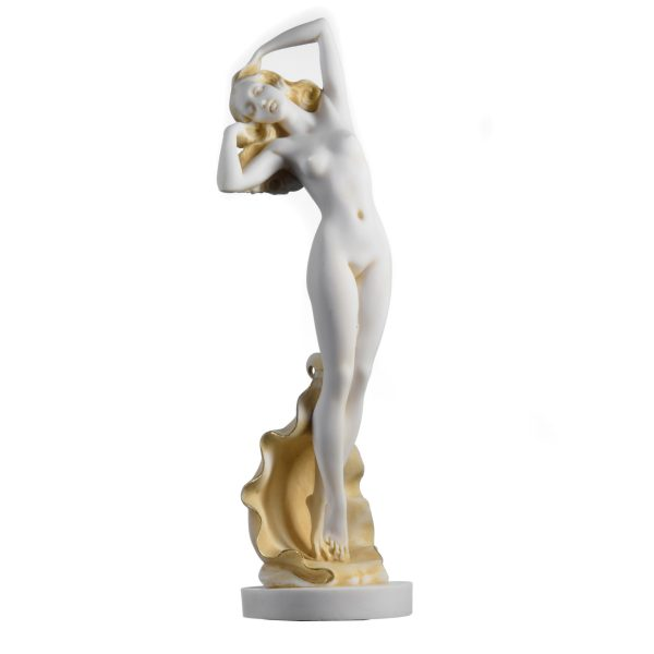 Goddess Aphrodite Birth of Venus Sexy Nude Girl Naked Statue Gold Tone 12.6″