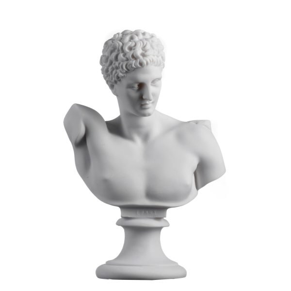 Hermes Bust  Alabaster Sculpture Ancient Greek God Conductor of Souls into The Afterlife 8.26″