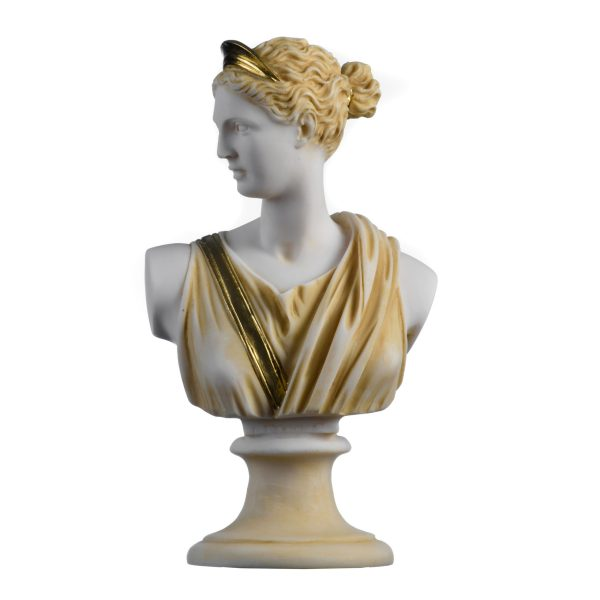 Artemis Diana Bust Greek Statue Nature Moon Goddess Gold Tone 8.66″