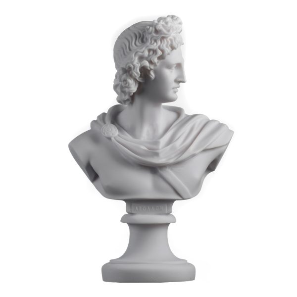 Apollo God Of Music Poetry Art Alabaster Stone Bust Head Statue Sculpture 9.25″