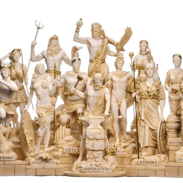 Set All The 12 Olympian Gods of Mount Olympus Gold Tone Alabaster Includes Base