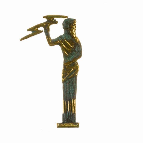 Zeus Greek God Jupiter Thunder Statue  Figurine Solid Bronze 4.5″