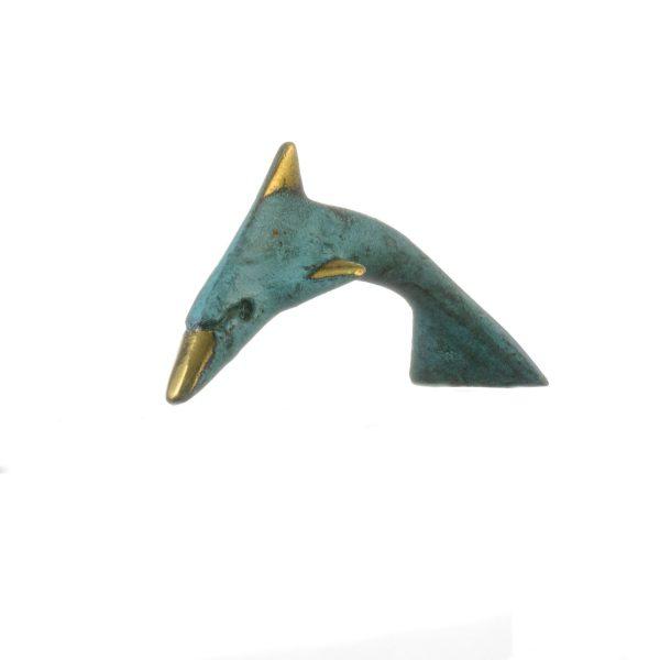 Minoan Dolphin Crete Knossos Handmade 12cm 4.72″ Solid Bronze Gold Green Colour