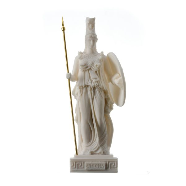 Athena Athene Goddess of wisdom, handicraft, and war Alabaster Statue 10.2″