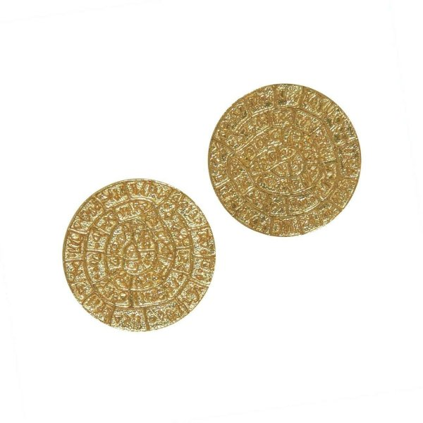 Phaistos Disc Knossos Earrings Silver Sterling 925 Gold Plated Greek Handmade S