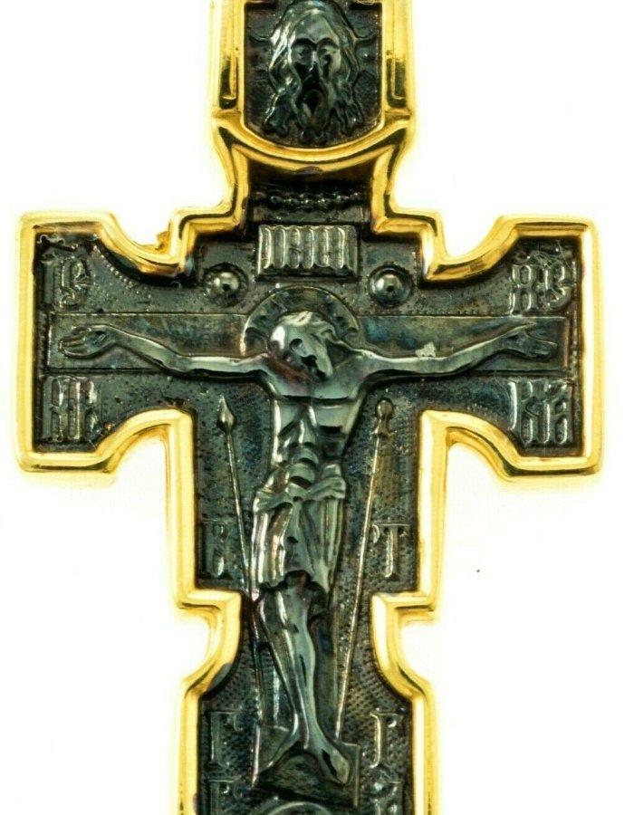 Orthodox Cross Russian Greek Crucifix Silver 925+.999 Gold Precious Prayer