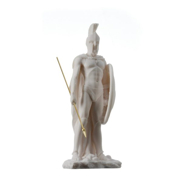 LEONIDAS Statue Greek Spartan King Sculpture Figure Alabaster 9″ / 23cm F/Ship