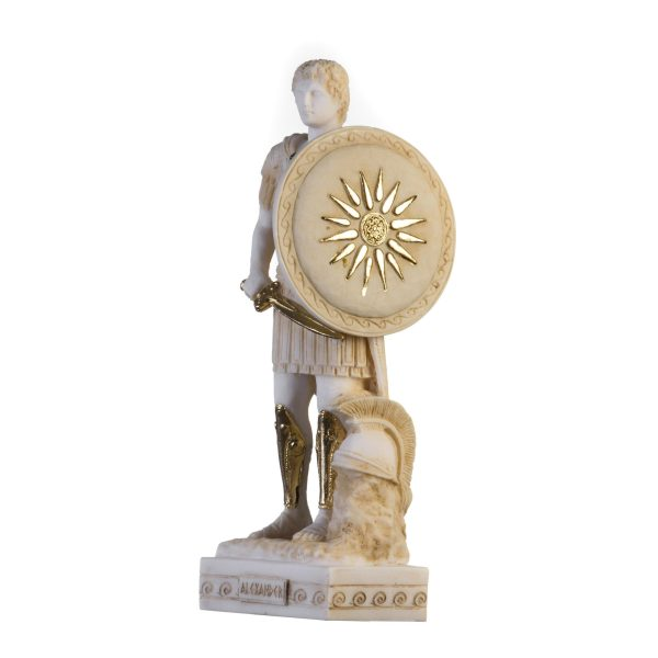 Alexander The Great of Macedonia With Vergina Shield  Statue Gold Tone Alabaster Statue 10.6″