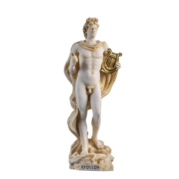 Apollo God Of Music Poetry Art Gold Tone Alabaster Statue Sculpture 6.69″