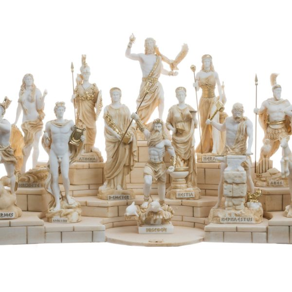 Set 12 Olympian Gods of Mount Olympus Pantheon Gold Tone Alabaster Includes Base 6.7″
