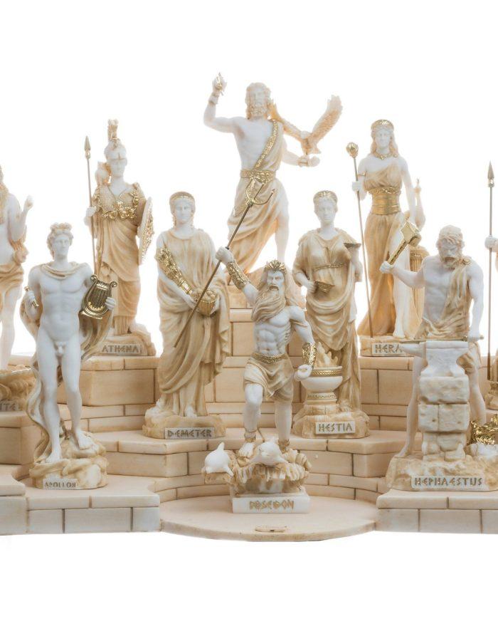 Set 12 Olympian Gods of Mount Olympus Pantheon Gold Tone Alabaster Statues 6.7″