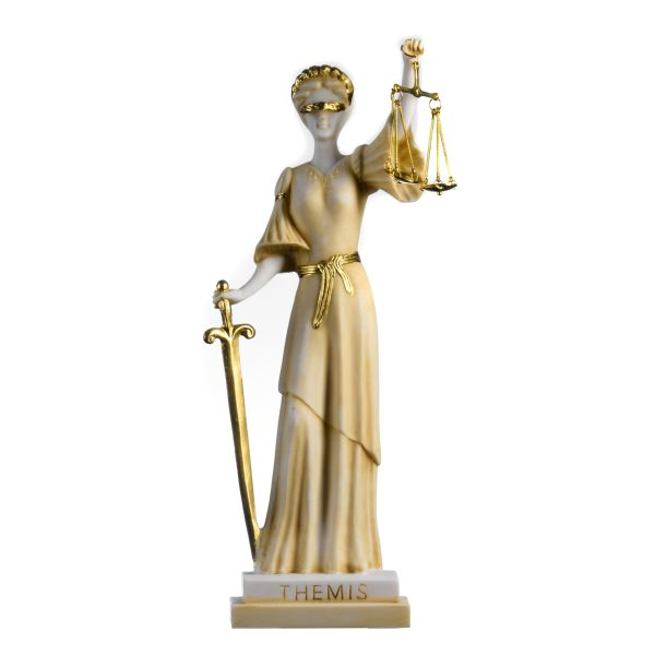 Greek Goddess Themis Statue Gold Colour Blind Lady Justice Sculpture Lawyer Gift 15.35""