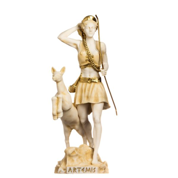 Goddess Artemis Diana Greek Statue Nature Moon Gold Tone Alabaster 13inches