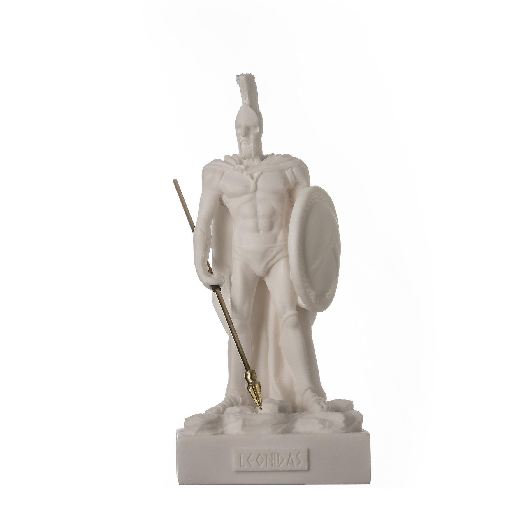 """LEONIDAS Warrior King Spartan Statue Greek Sculpture Figure Alabaster 6.7"""" / 17cm F.Shipping"""