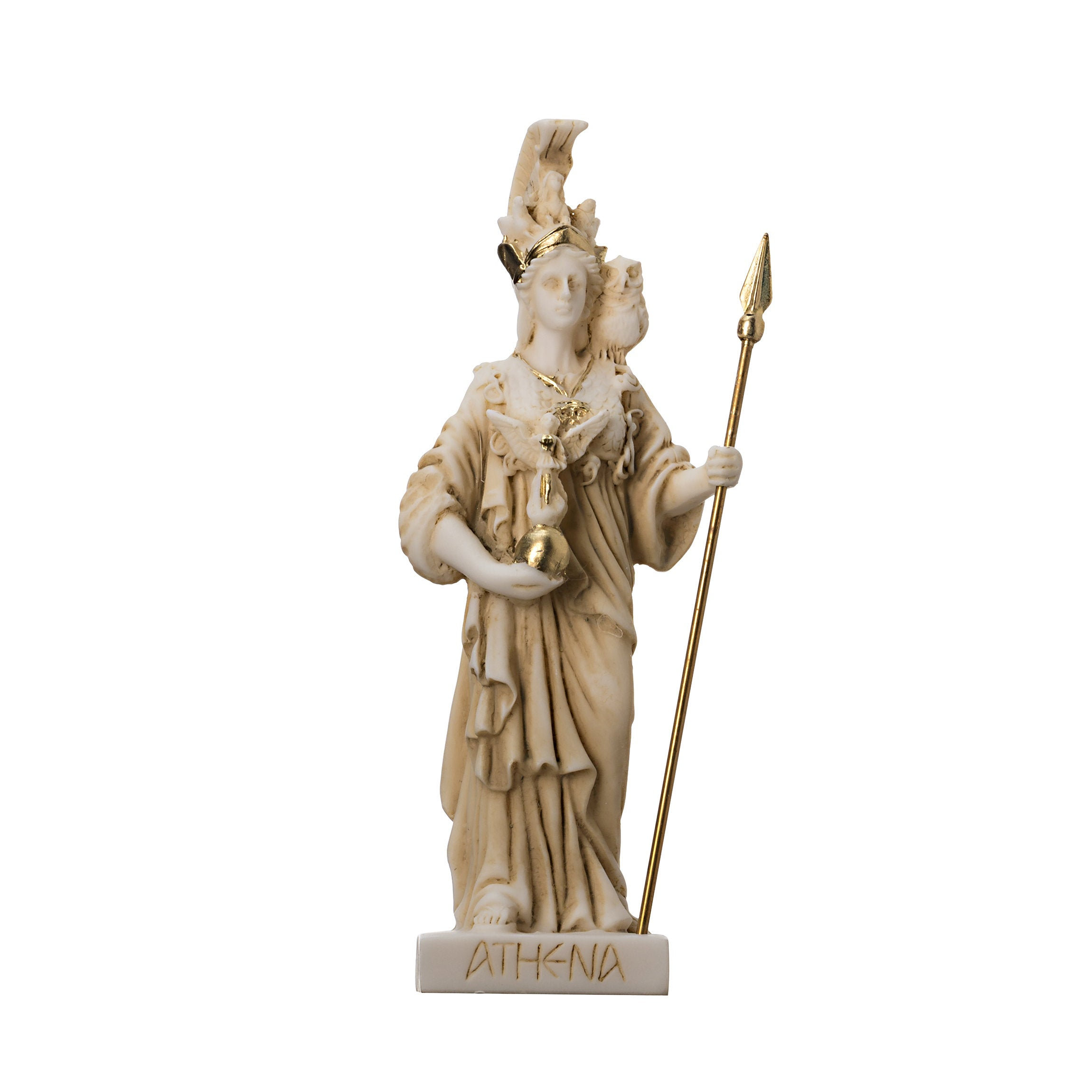 """Athena with Owl Goddess of wisdom and war Alabaster Gold tone Statue 6.29"""""""