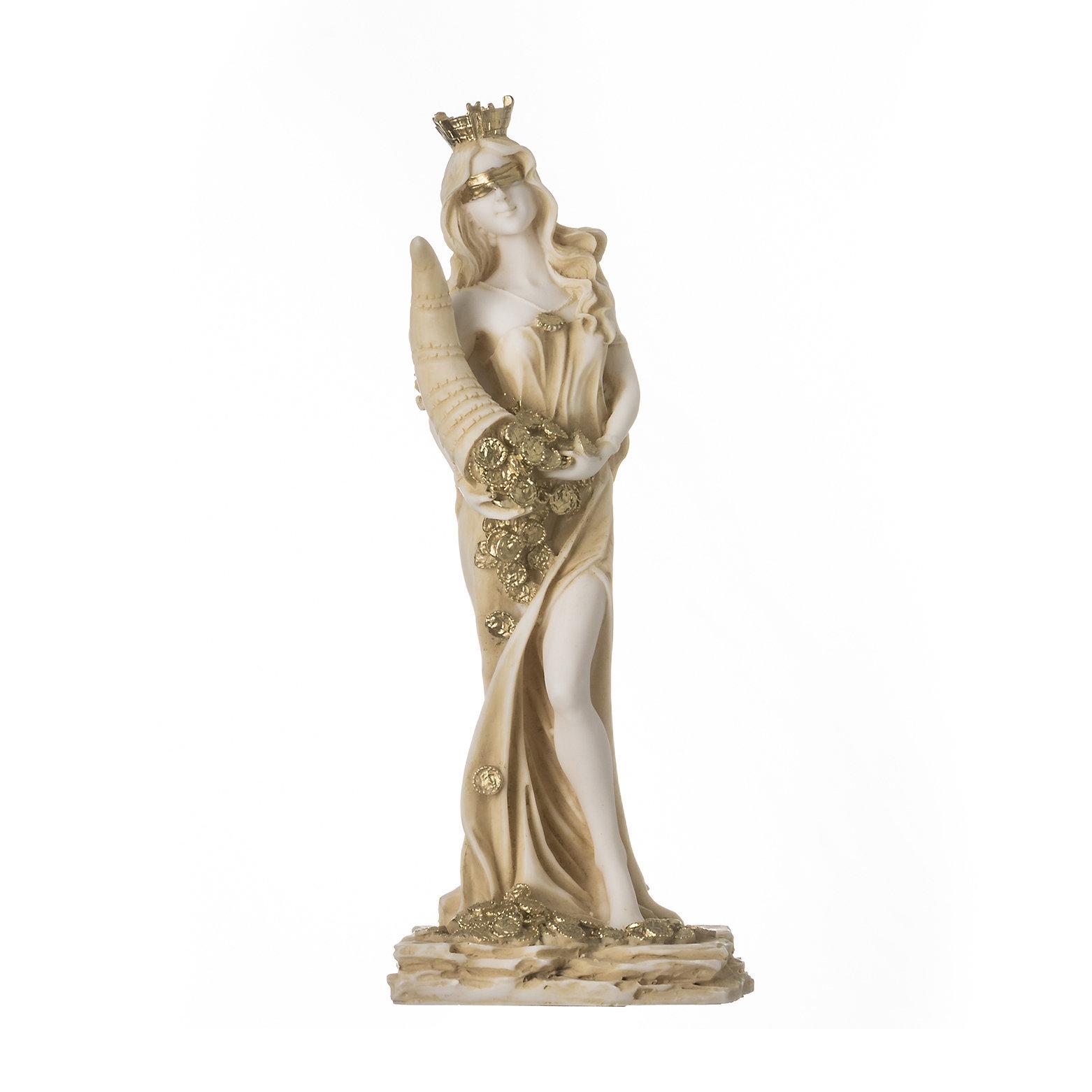 "Goddess Of Wealth Tyche Lady Luck Fortuna Statue Alabaster Sculpture Golden 8.6"""