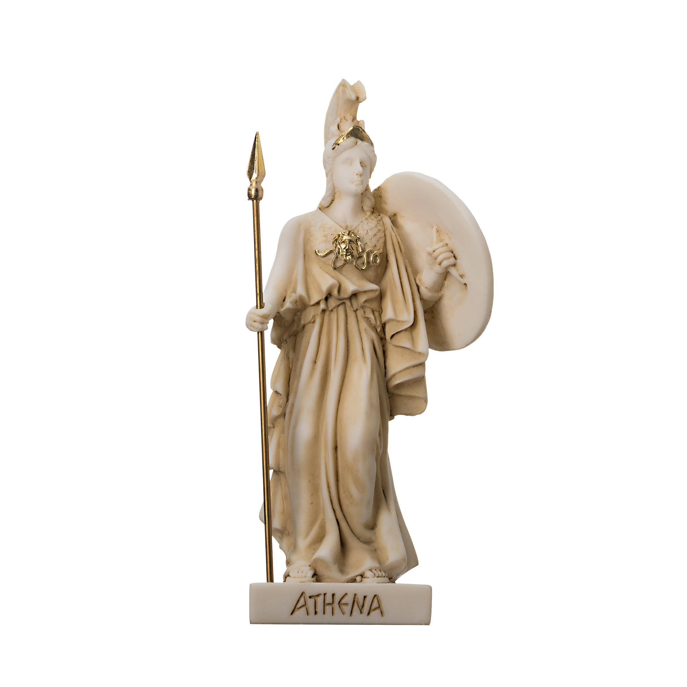 Goddess Athena with Medousa Shield  alabaster gold tone 6.1''