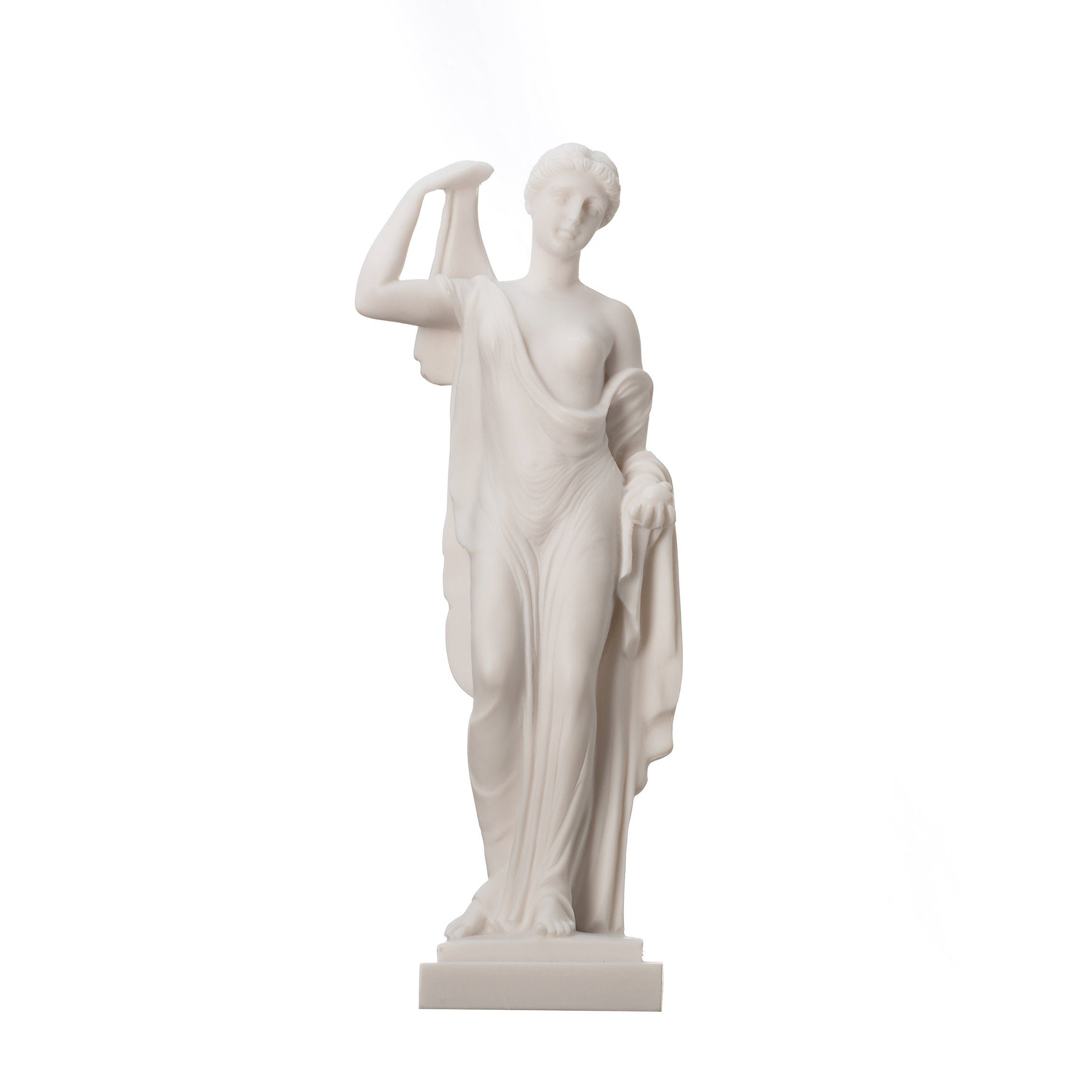 Eris Statue Holding Golden Apple of Discord Greek goddess of strife and discord Discordia Alabaster 9.84""