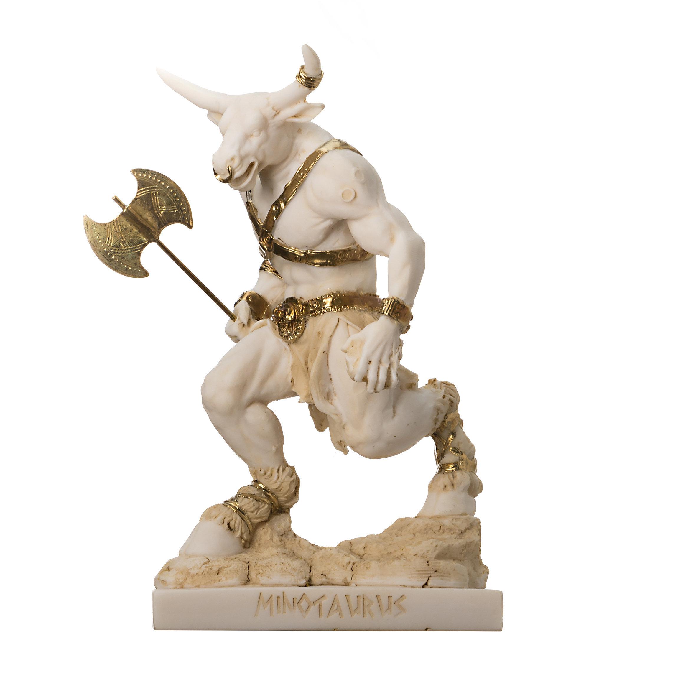 Minotaur Greek Mythology With Labrys Statue Gold Alabaster 8''