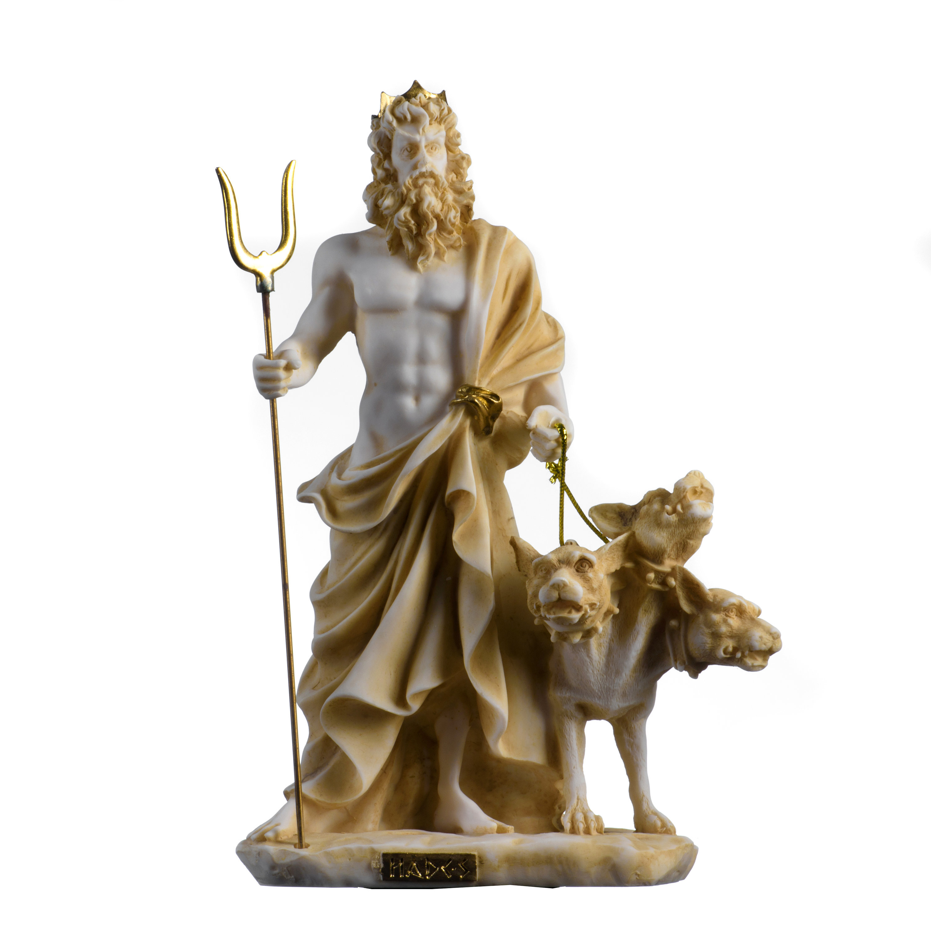 Pluto Hades Lord of the Underworld Greek Statue Dead Figurine  Gold Tone 9.4""