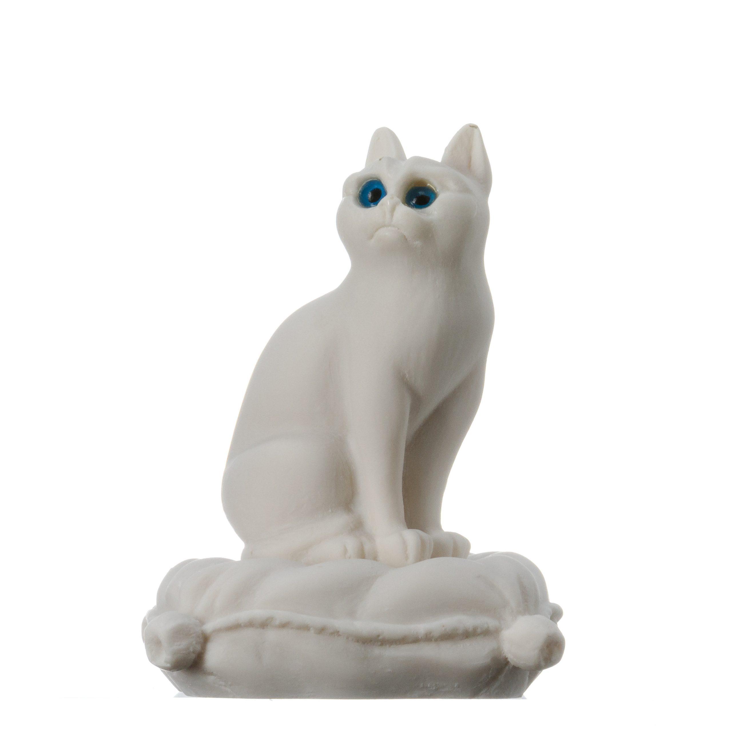 Cat Sitting on Pillow Alabaster White sculpture Handmade 6.2''