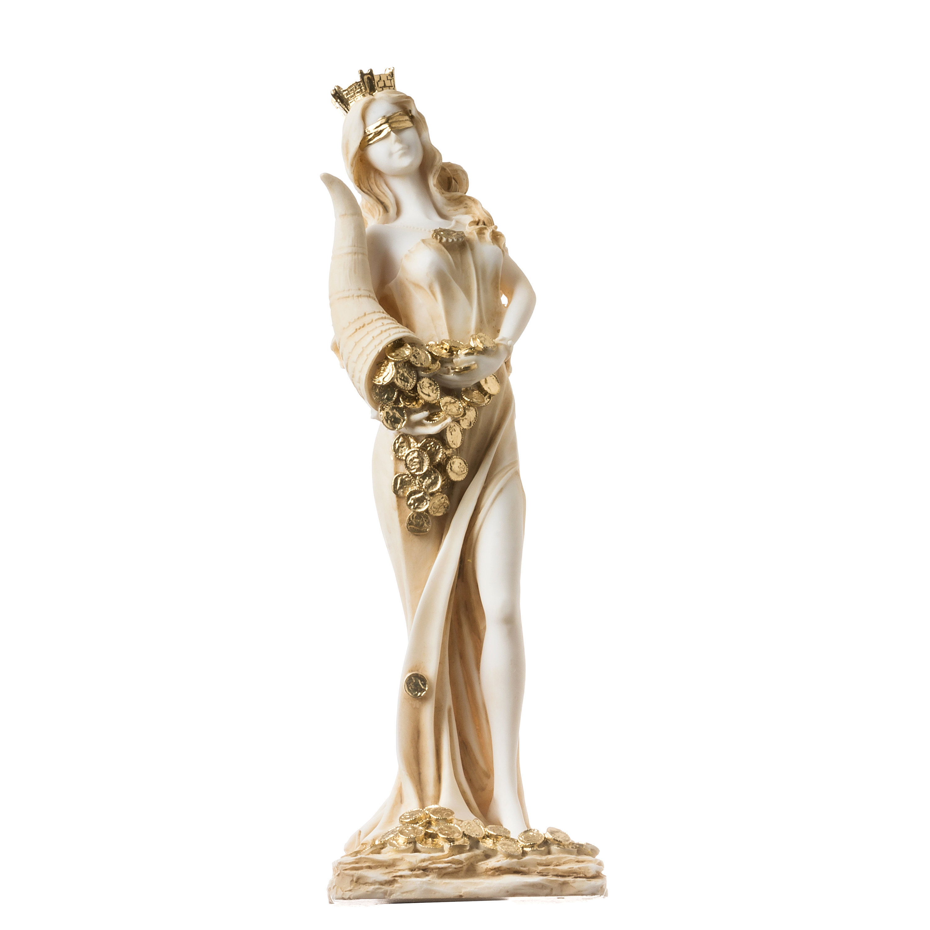 """Goddess Of Wealth Tyche Lady Luck Fortuna Statue Alabaster Sculpture Gold 11.8"""""""