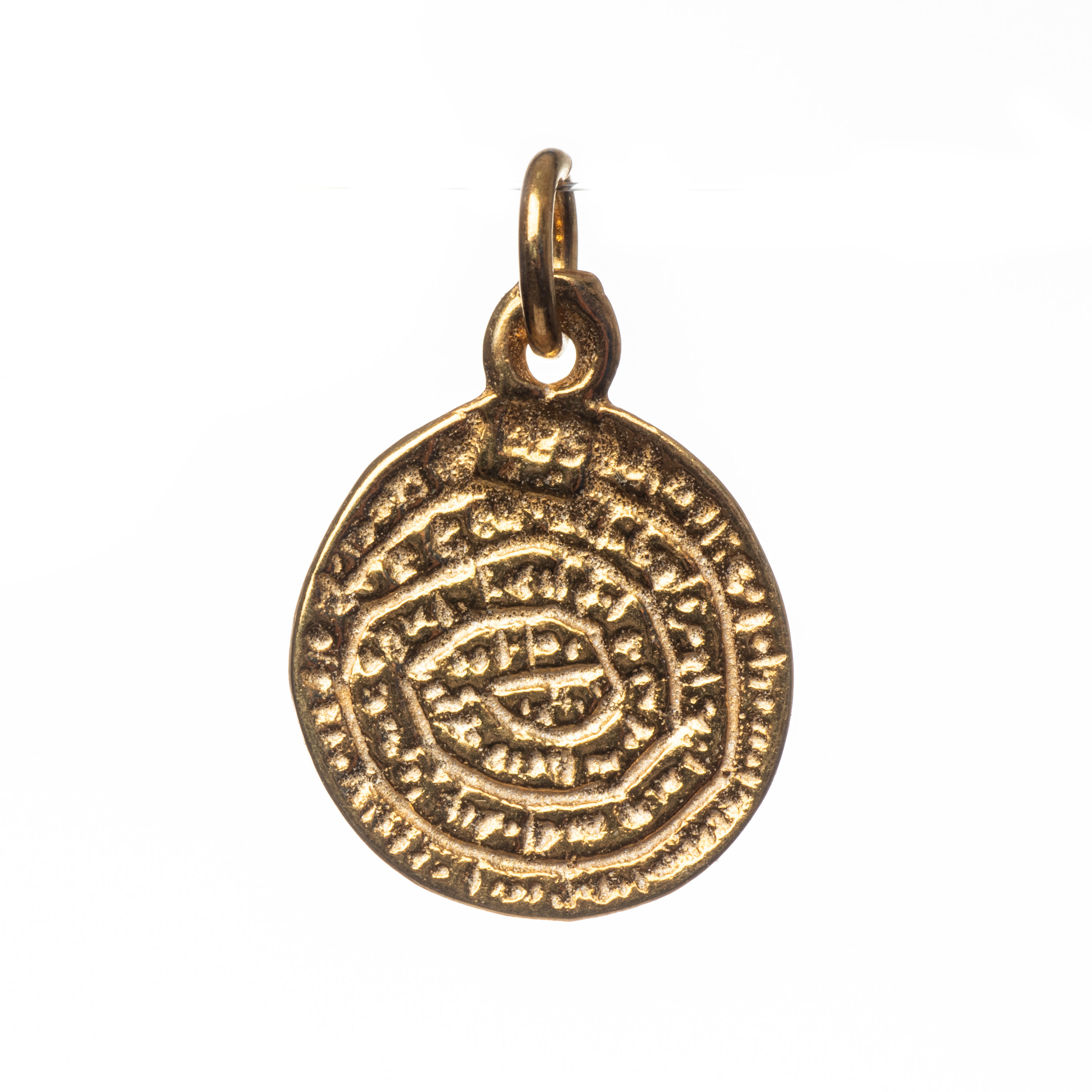925 Sterling silver Minoan Phaistos Crete Pendant Gold Plated 2sided 0.55 inches