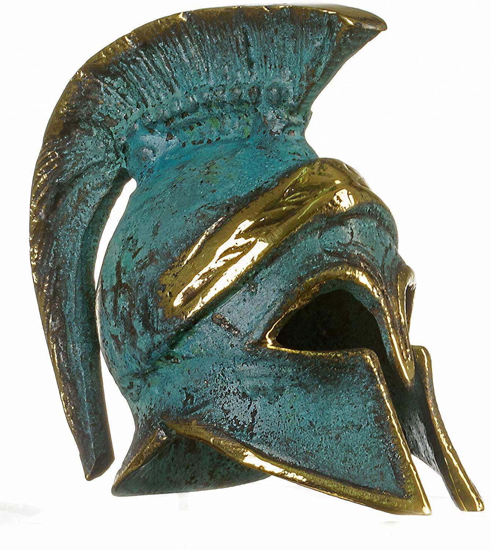 "Ancient Greek Bronze Miniature Helmet Bronze Oxidation Handmade 3.34"""