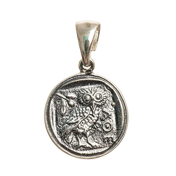 Owl of Athena Wisdom Pendant Small Replica Greek Coin Mythology Rustic