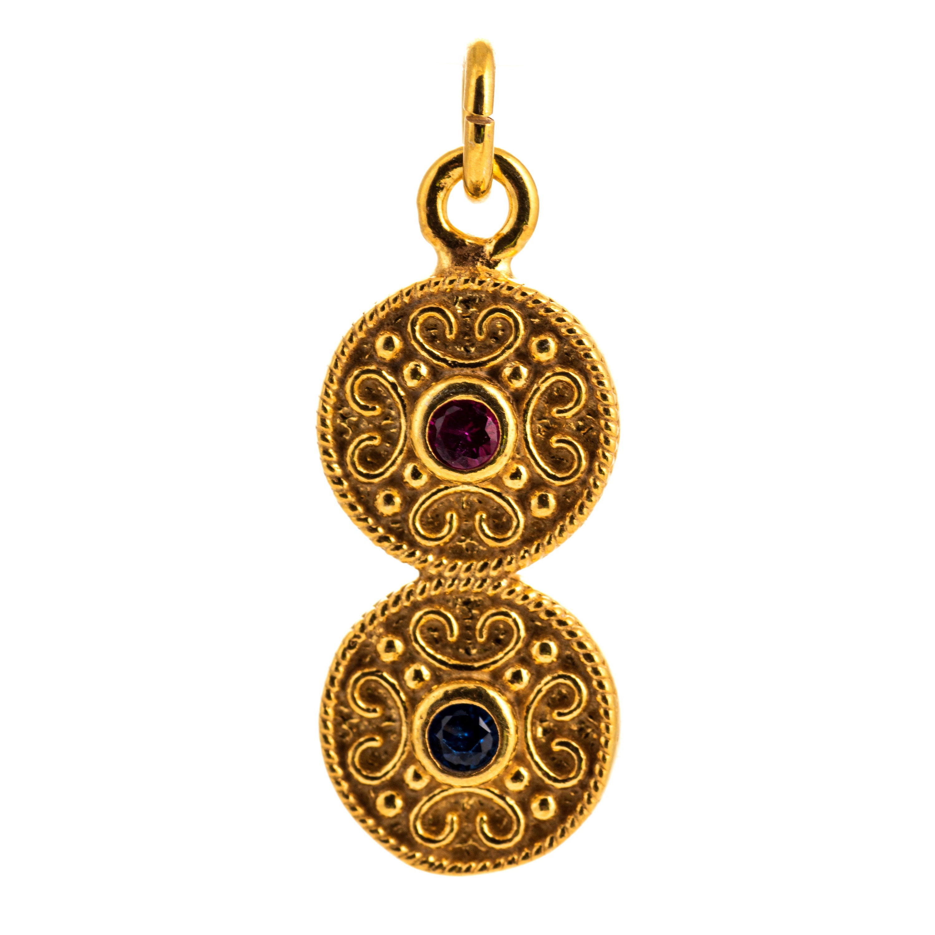 Byzantine Blue Pink Cubic Zirconia Double Disc Pendant 925 Sterling Silver Gold Plated Vintage Retro Pendant