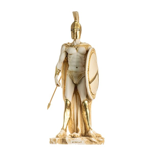 LEONIDAS Statue Greek Spartan King Sculpture Figure Alabaster Gold Tone13.77″