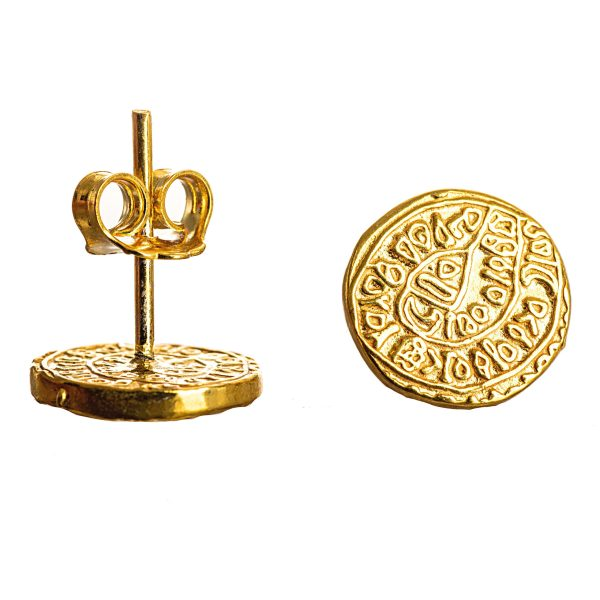 Phaistos Disc Earring Gold Plated Silver Sterling 925 Mythical Greek Small