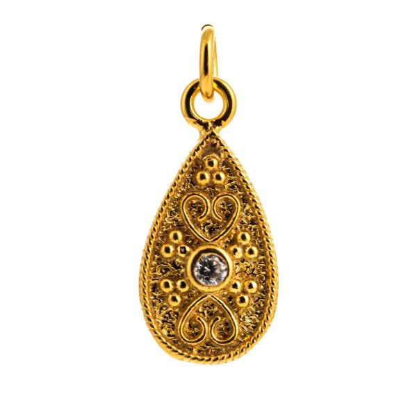 Byzantine Teardrop White Cubic Zirconia Pendant 925 Sterling Silver Gold Plated Vintage Retro Pendant