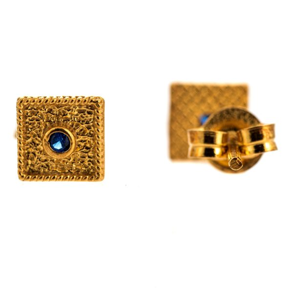 Byzantine Blue Cubic Zirconia Square Earrings 925 Sterling Silver Gold Plated Vintage Retro