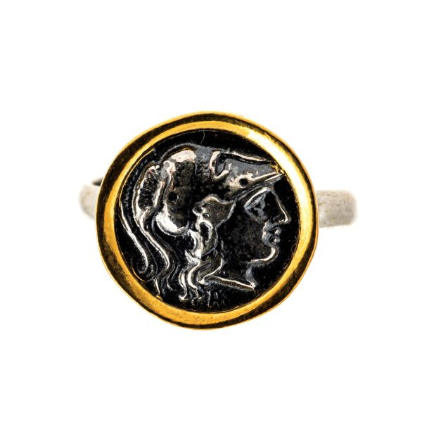 Athena Goddess of Wisdom Adjustable Ring 925 Silver Sterling Ancient Greek Coin Replica
