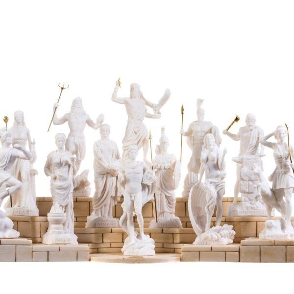 Set 12 Olympian Gods of Mount Olympus Pantheon Alabaster Statues 6.7″